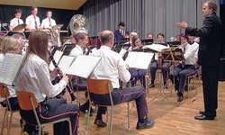Der Musikverein Sattel in Aktion: Im Hintergrund kann man auch noch einen «Blues Brother» am Bass erkennen. Bild Florian Joller