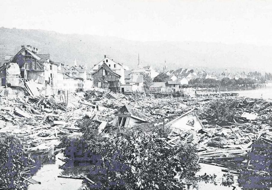 Ein Bild der Zerstörung: die Zuger Vorstadtkatastrophe am 5. Juli 1887. (Bild PD)