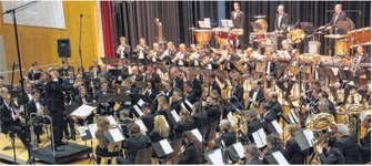Das Blasorchester Siebnen präsentierte am Frühlingskonzert seine beiden Stücke für die Europameisterschaft der Blasorchester. Bild Paul A. Good