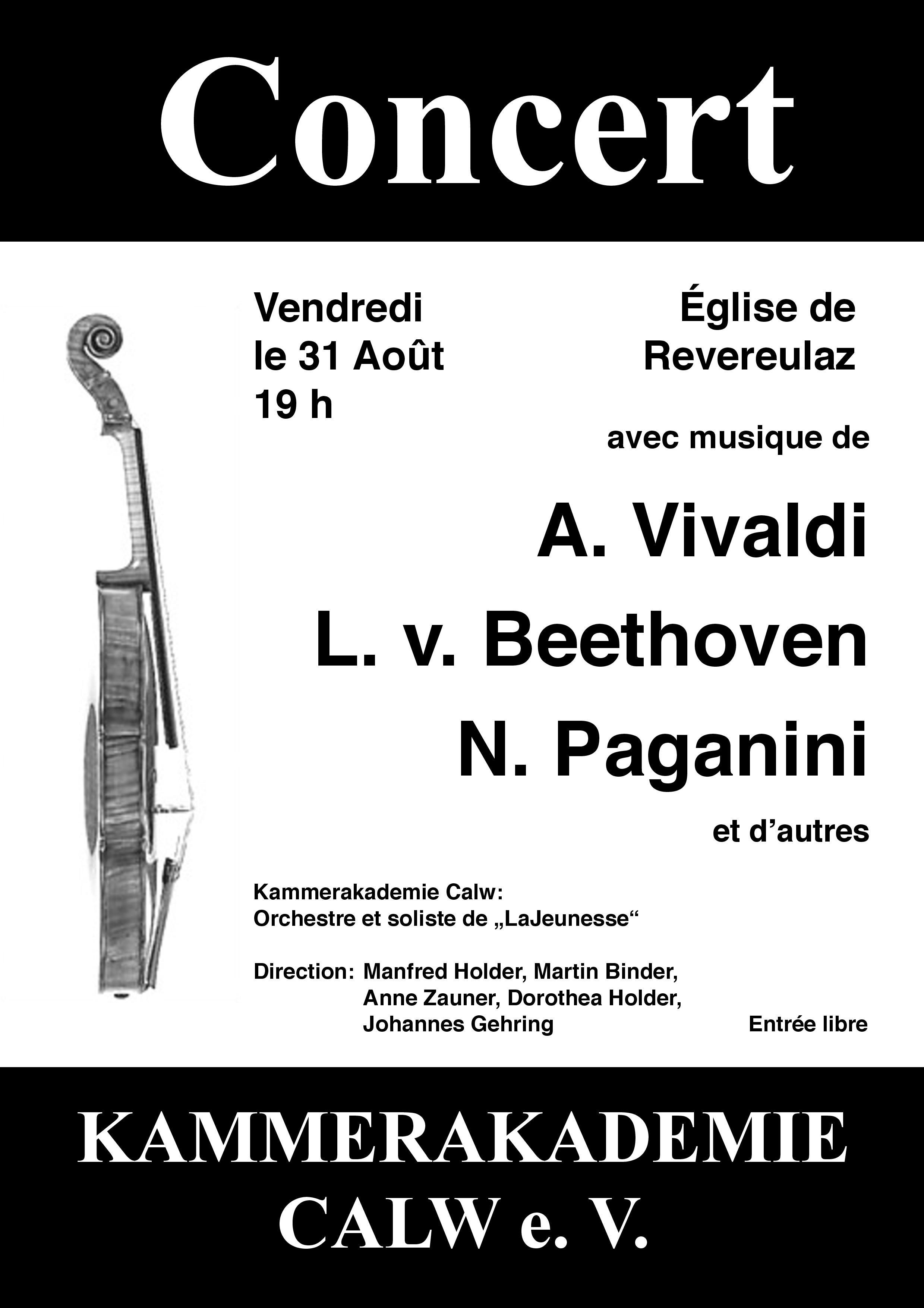 Concert de la Kammerakademie Calw à l'Eglise de Revereulaz @  |  |