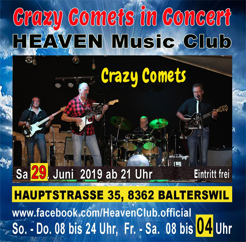 Crazy Comets live im HEAVEN; Eintritt frei
