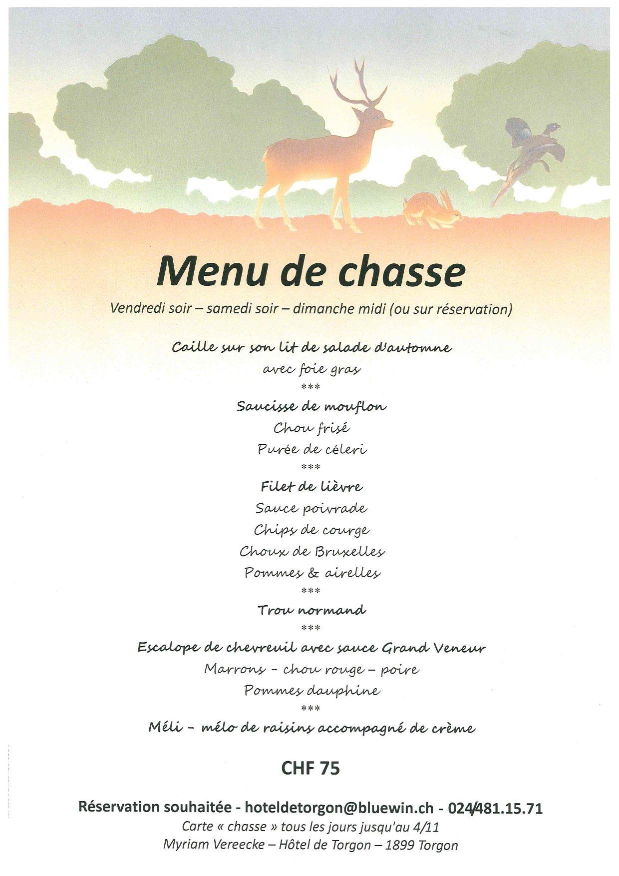 Les plats de chasse à l'Hôtel de Torgon @  |  |